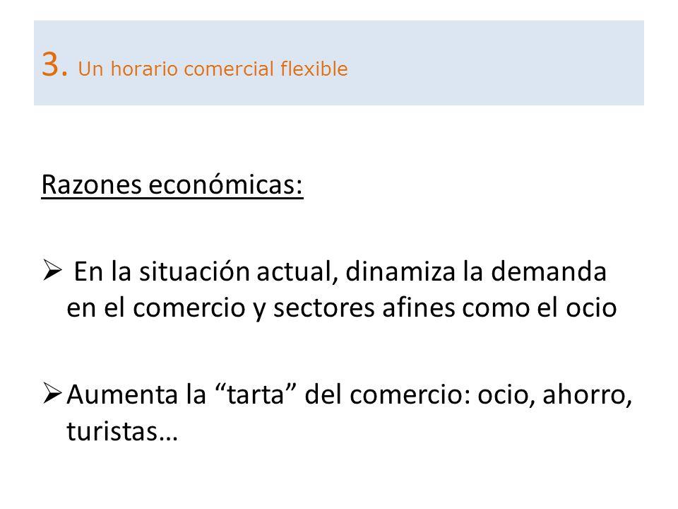 Razones económicas: En la situación actual, dinamiza la demanda en el comercio y sectores afines como el ocio Aumenta la tarta del comercio: ocio, aho