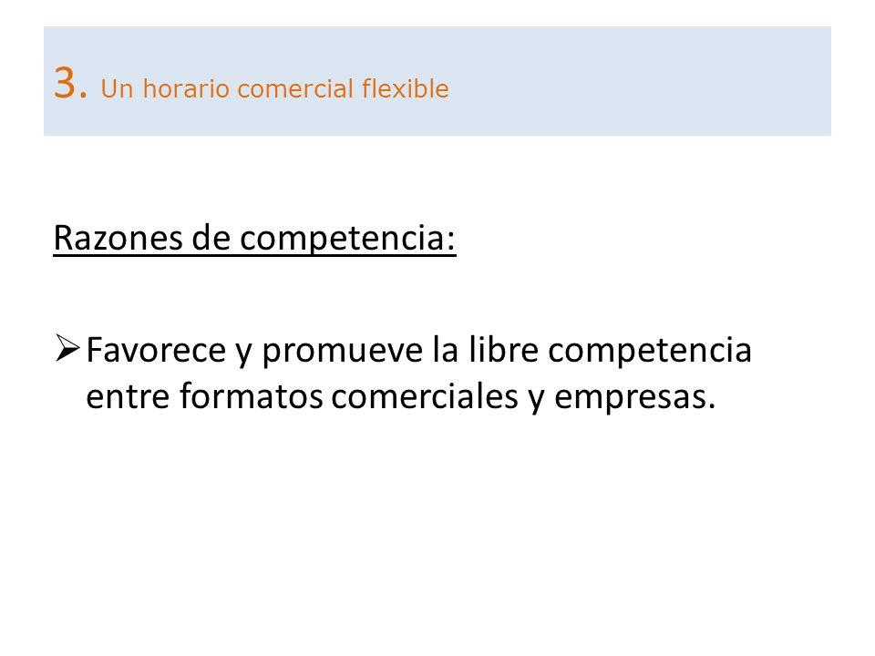 Razones de competencia: Favorece y promueve la libre competencia entre formatos comerciales y empresas. 3. Un horario comercial flexible
