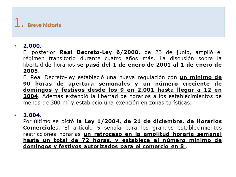 Breve historia 1. Breve historia 2.000. El posterior Real Decreto-Ley 6/2000, de 23 de junio, amplió el régimen transitorio durante cuatro años más. L