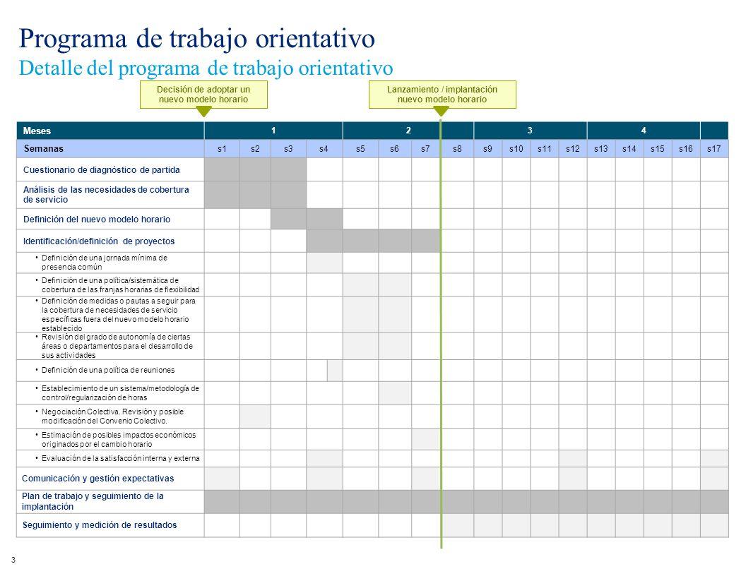 Programa de trabajo orientativo Detalle del programa de trabajo orientativo 3 Meses 1234 Semanas s1s2s3s4s5s6s7s8s9s10s11s12s13s14s15s16s17 Cuestionar