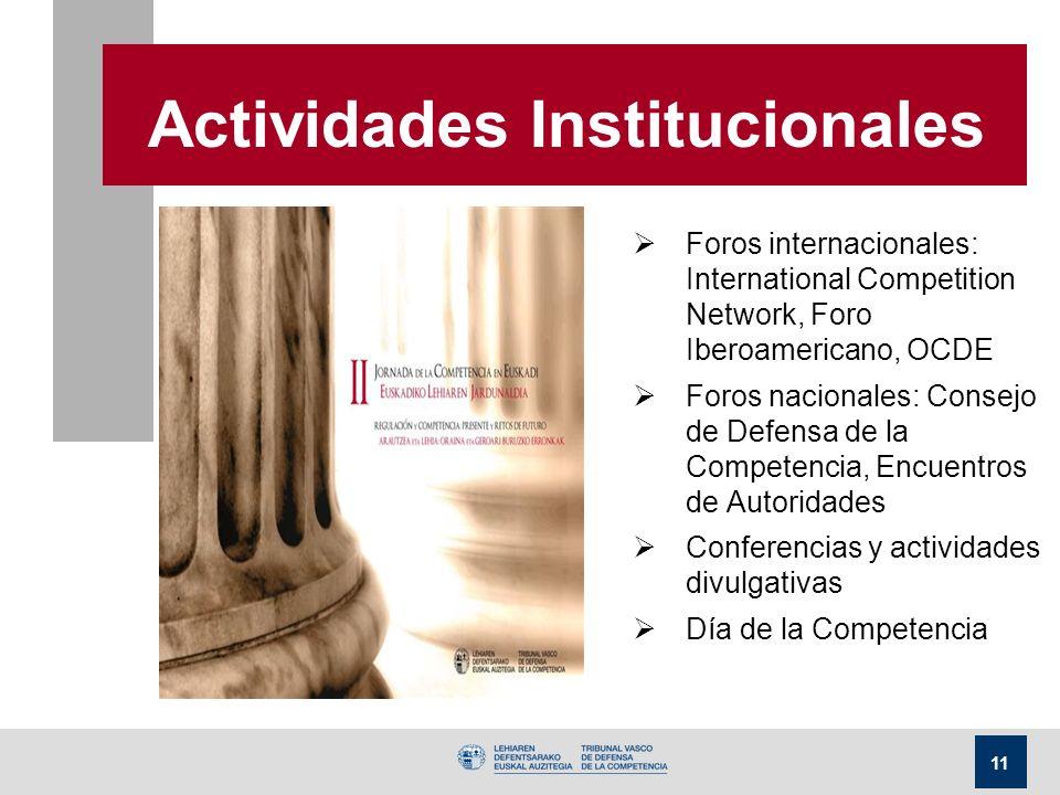 11 Actividades Institucionales Foros internacionales: International Competition Network, Foro Iberoamericano, OCDE Foros nacionales: Consejo de Defensa de la Competencia, Encuentros de Autoridades Conferencias y actividades divulgativas Día de la Competencia