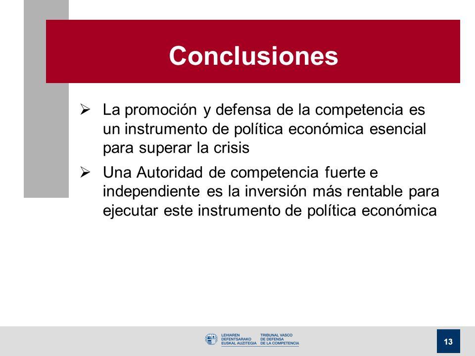 13 Conclusiones La promoción y defensa de la competencia es un instrumento de política económica esencial para superar la crisis Una Autoridad de comp