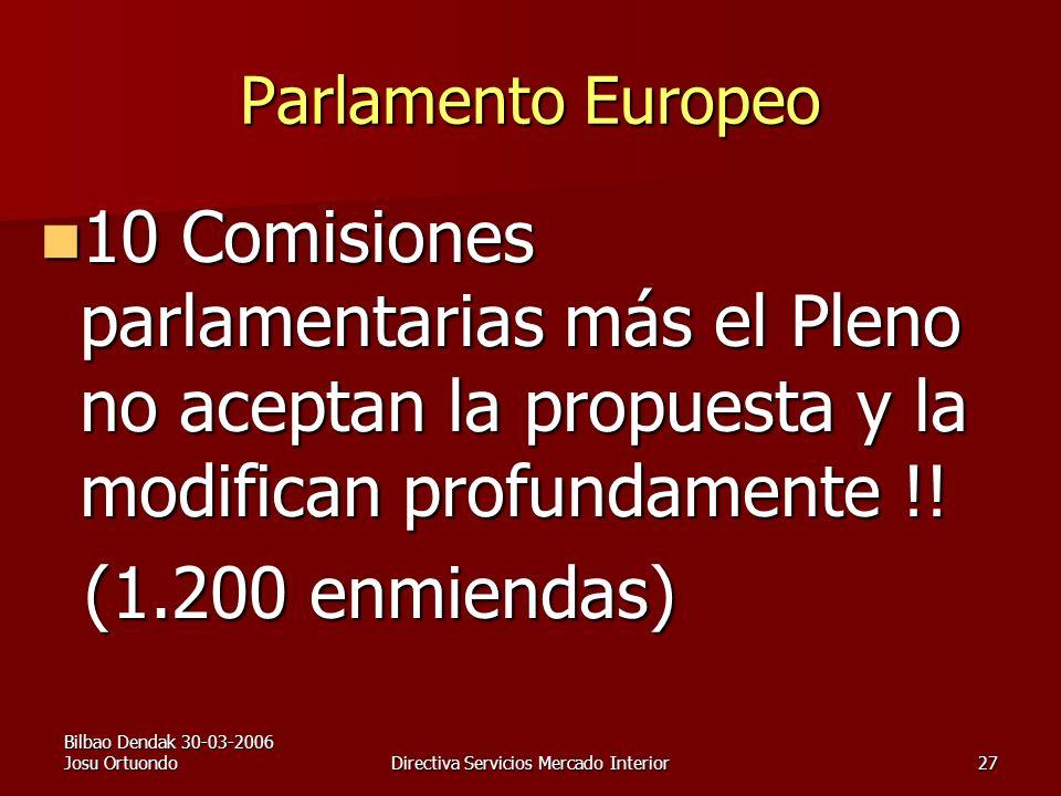 Bilbao Dendak 30-03-2006 Josu OrtuondoDirectiva Servicios Mercado Interior27 Parlamento Europeo 10 Comisiones parlamentarias más el Pleno no aceptan la propuesta y la modifican profundamente !.
