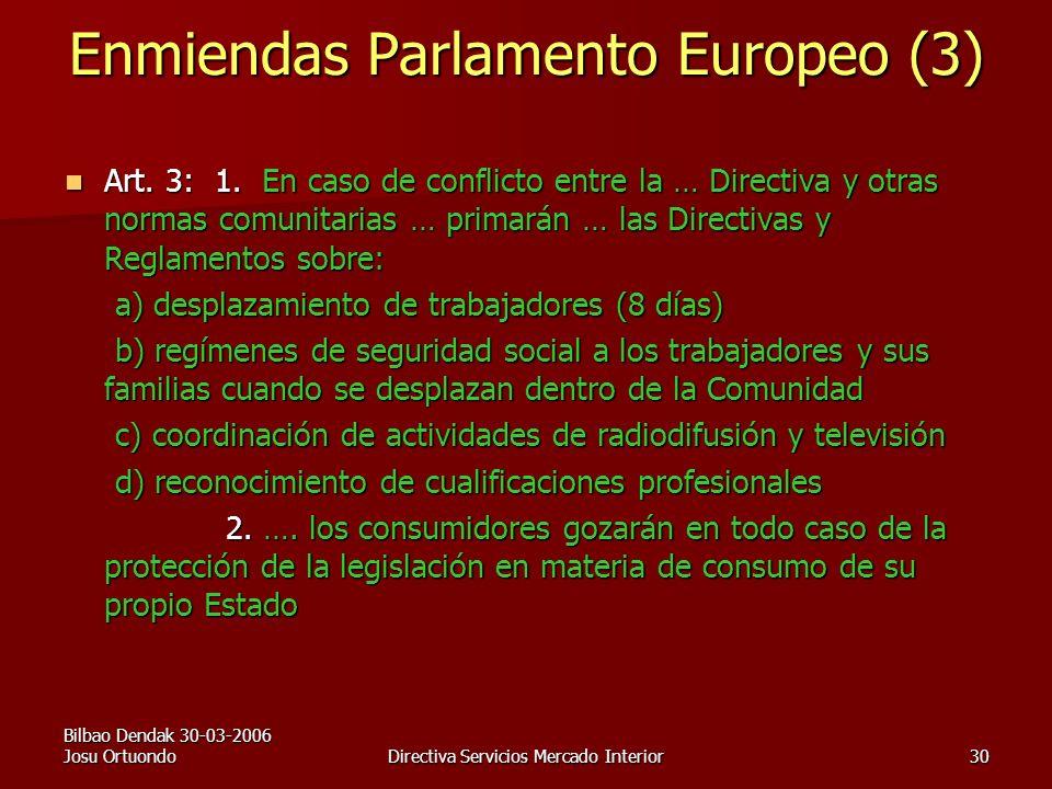 Bilbao Dendak 30-03-2006 Josu OrtuondoDirectiva Servicios Mercado Interior30 Enmiendas Parlamento Europeo (3) Art.