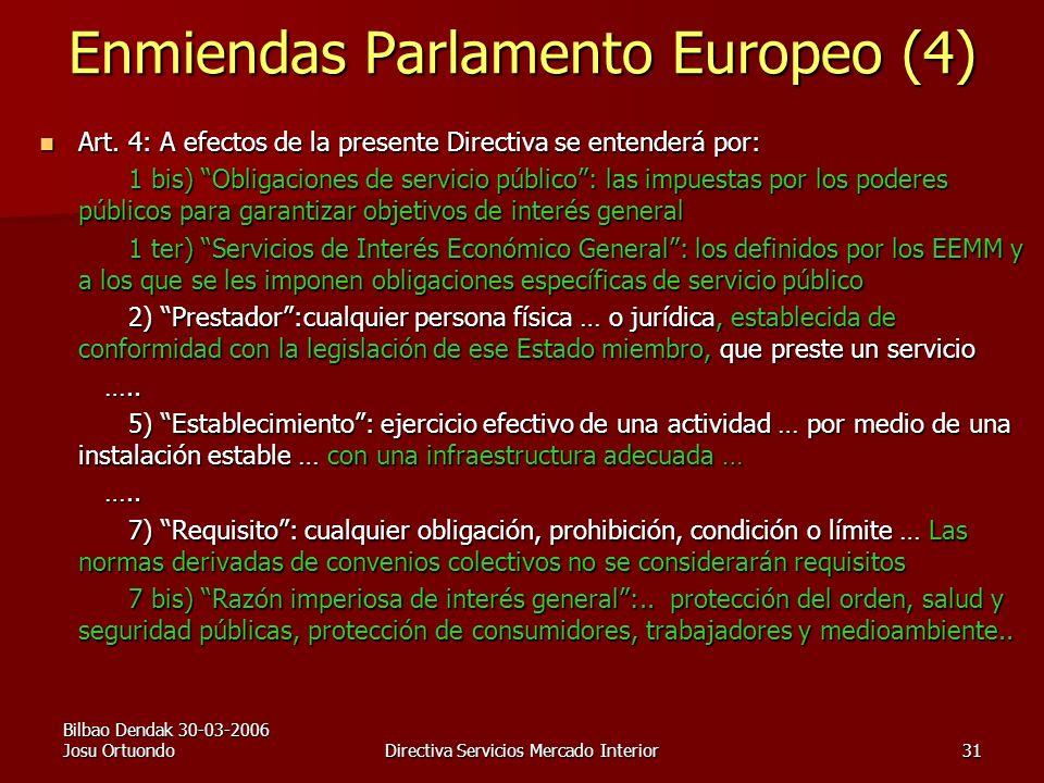 Bilbao Dendak 30-03-2006 Josu OrtuondoDirectiva Servicios Mercado Interior31 Enmiendas Parlamento Europeo (4) Art.