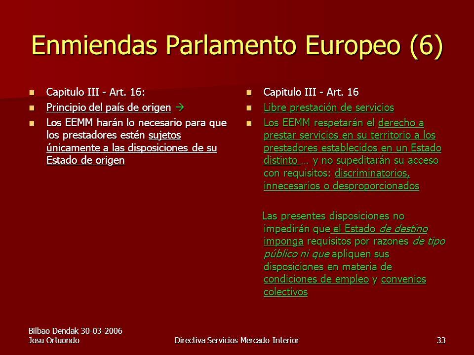 Bilbao Dendak 30-03-2006 Josu OrtuondoDirectiva Servicios Mercado Interior33 Enmiendas Parlamento Europeo (6) Capitulo III - Art.
