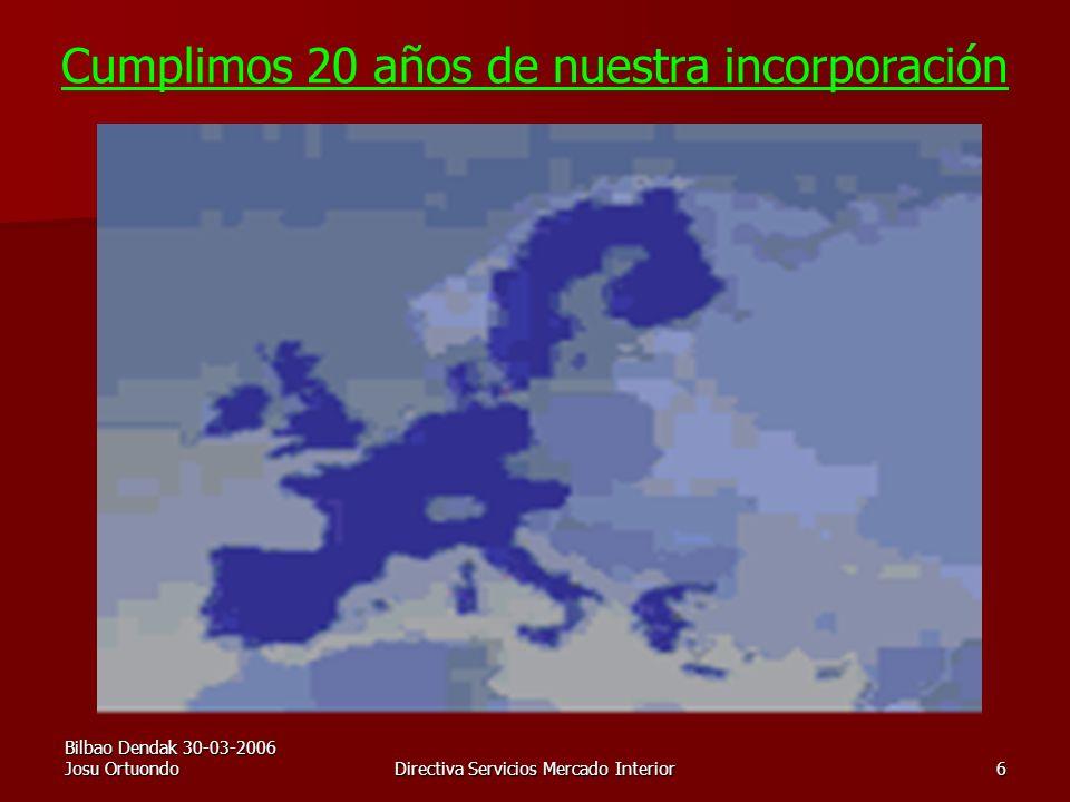 Bilbao Dendak 30-03-2006 Josu OrtuondoDirectiva Servicios Mercado Interior6 Cumplimos 20 años de nuestra incorporación