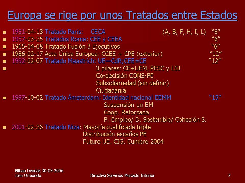 Bilbao Dendak 30-03-2006 Josu OrtuondoDirectiva Servicios Mercado Interior7 Europa se rige por unos Tratados entre Estados 1951-04-18 Tratado París: CECA (A, B, F, H, I, L) 6 1951-04-18 Tratado París: CECA (A, B, F, H, I, L) 6 1957-03-25 Tratados Roma: CEE y CEEA 6 1957-03-25 Tratados Roma: CEE y CEEA 6 1965-04-08 Tratado Fusión 3 Ejecutivos 6 1965-04-08 Tratado Fusión 3 Ejecutivos 6 1986-02-17 Acta Única Europea: CCEE + CPE (exterior) 12 1986-02-17 Acta Única Europea: CCEE + CPE (exterior) 12 1992-02-07 Tratado Maastrich: UECdR;CEE=CE 12 1992-02-07 Tratado Maastrich: UECdR;CEE=CE 12 3 pilares: CE+UEM, PESC y LSJ 3 pilares: CE+UEM, PESC y LSJ Co-decisión CONS-PE Co-decisión CONS-PE Subsidiariedad (sin definir) Subsidiariedad (sin definir) Ciudadanía Ciudadanía 1997-10-02 Tratado Ámsterdam: Identidad nacional EEMM 15 1997-10-02 Tratado Ámsterdam: Identidad nacional EEMM 15 Suspensión un EM Suspensión un EM Coop.