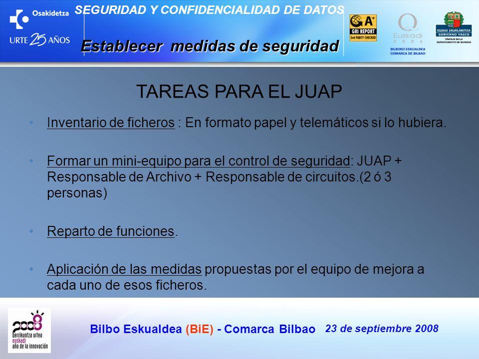 Bilbo Eskualdea (BiE) - Comarca Bilbao 23 de septiembre 2008 SEGURIDAD Y CONFIDENCIALIDAD DE DATOS Establecer medidas de seguridad TAREAS PARA EL JUAP
