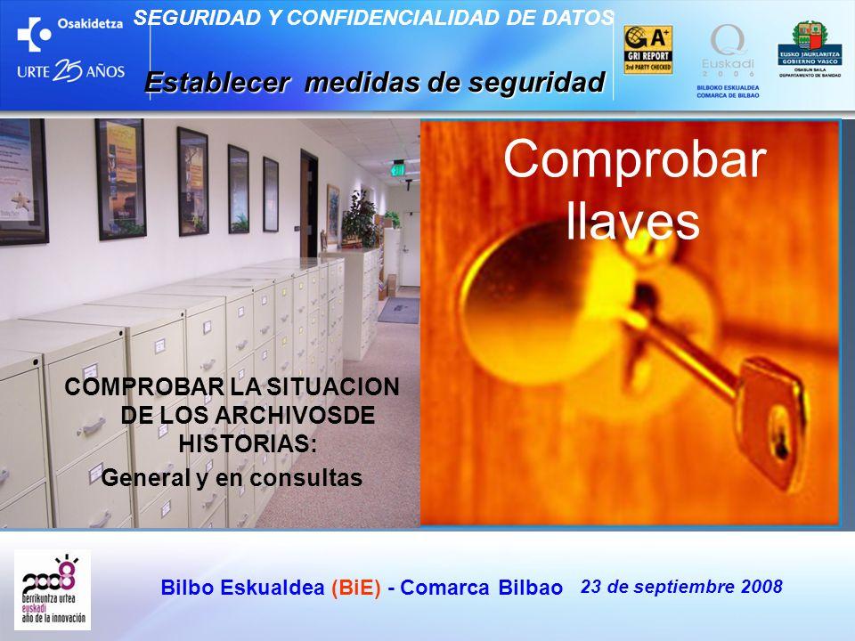 Bilbo Eskualdea (BiE) - Comarca Bilbao 23 de septiembre 2008 SEGURIDAD Y CONFIDENCIALIDAD DE DATOS Establecer medidas de seguridad Comprobar llaves CO