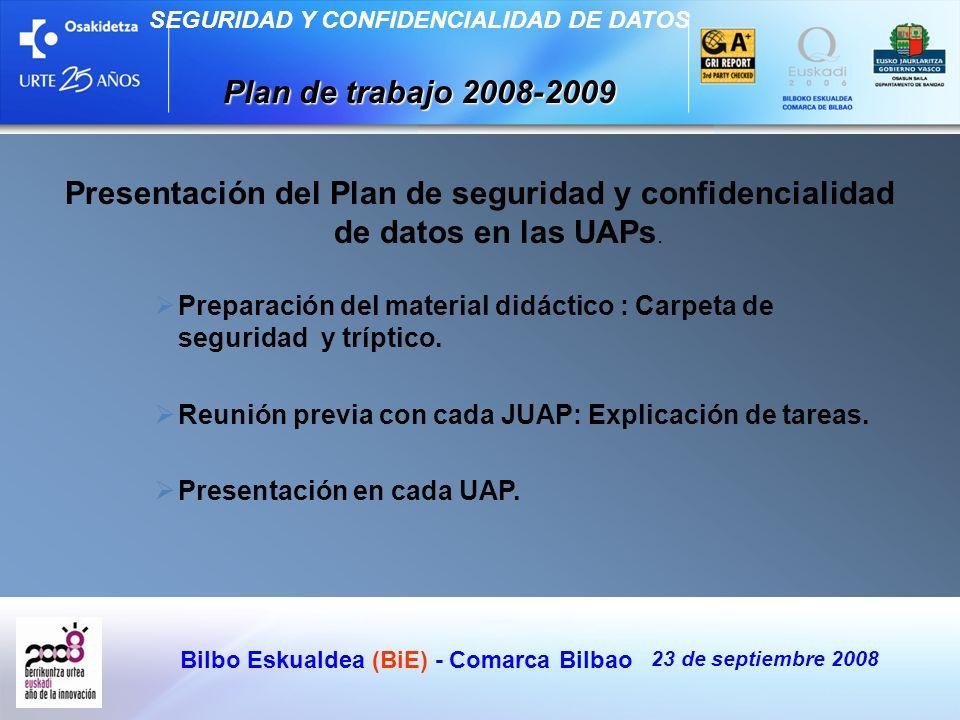 Bilbo Eskualdea (BiE) - Comarca Bilbao 23 de septiembre 2008 SEGURIDAD Y CONFIDENCIALIDAD DE DATOS Plan de trabajo 2008-2009 Presentación del Plan de