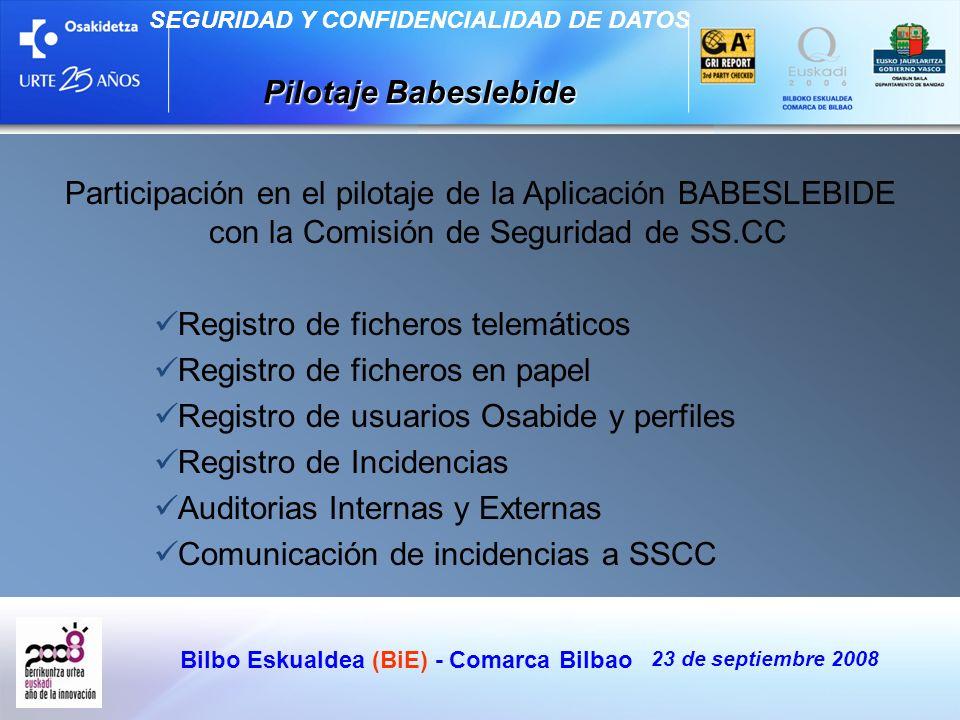 Bilbo Eskualdea (BiE) - Comarca Bilbao 23 de septiembre 2008 SEGURIDAD Y CONFIDENCIALIDAD DE DATOS Pilotaje Babeslebide Participación en el pilotaje d