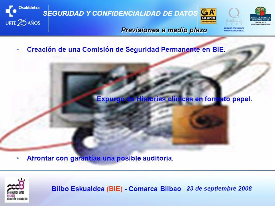 Bilbo Eskualdea (BiE) - Comarca Bilbao 23 de septiembre 2008 SEGURIDAD Y CONFIDENCIALIDAD DE DATOS Previsiones a medio plazo Previsiones a medio plazo