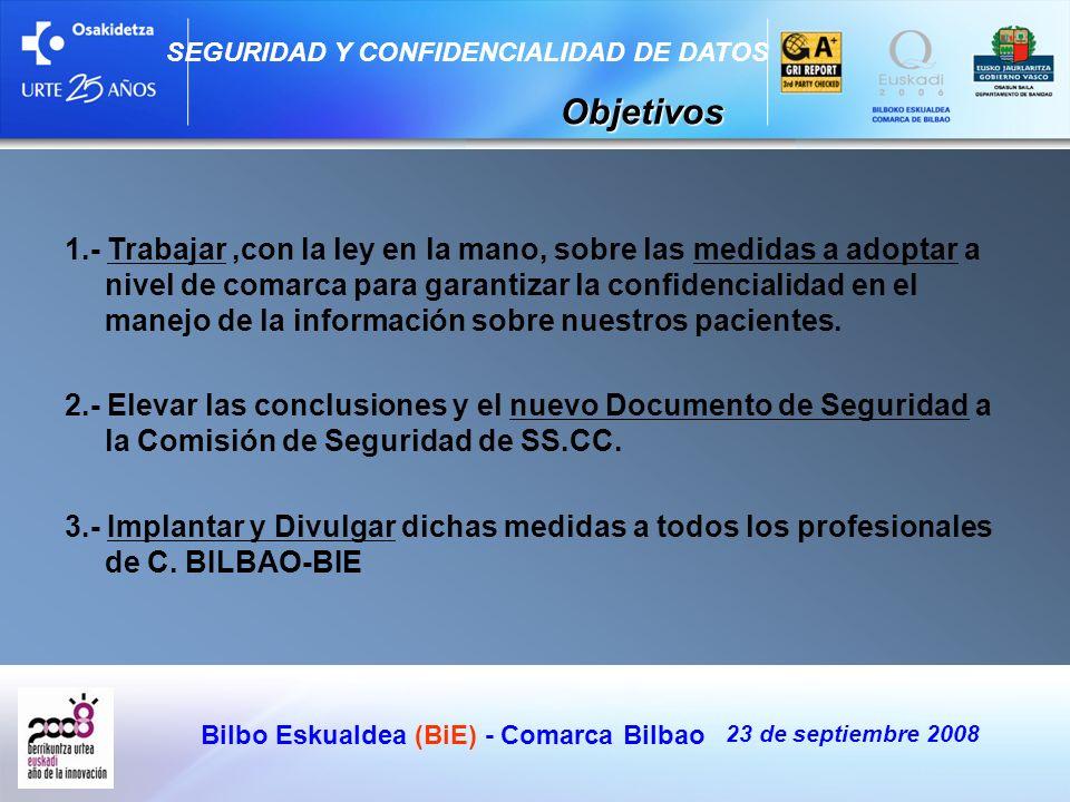 Bilbo Eskualdea (BiE) - Comarca Bilbao 23 de septiembre 2008 SEGURIDAD Y CONFIDENCIALIDAD DE DATOS Objetivos 1.- Trabajar,con la ley en la mano, sobre