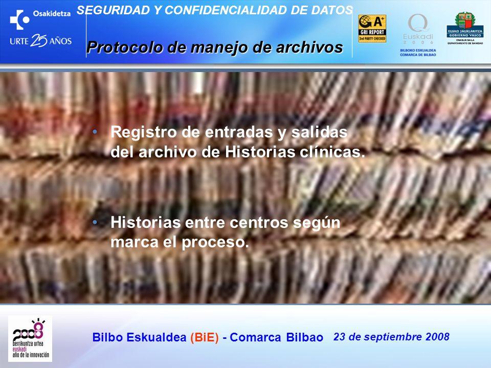 Bilbo Eskualdea (BiE) - Comarca Bilbao 23 de septiembre 2008 SEGURIDAD Y CONFIDENCIALIDAD DE DATOS Protocolo de manejo de archivos Registro de entrada