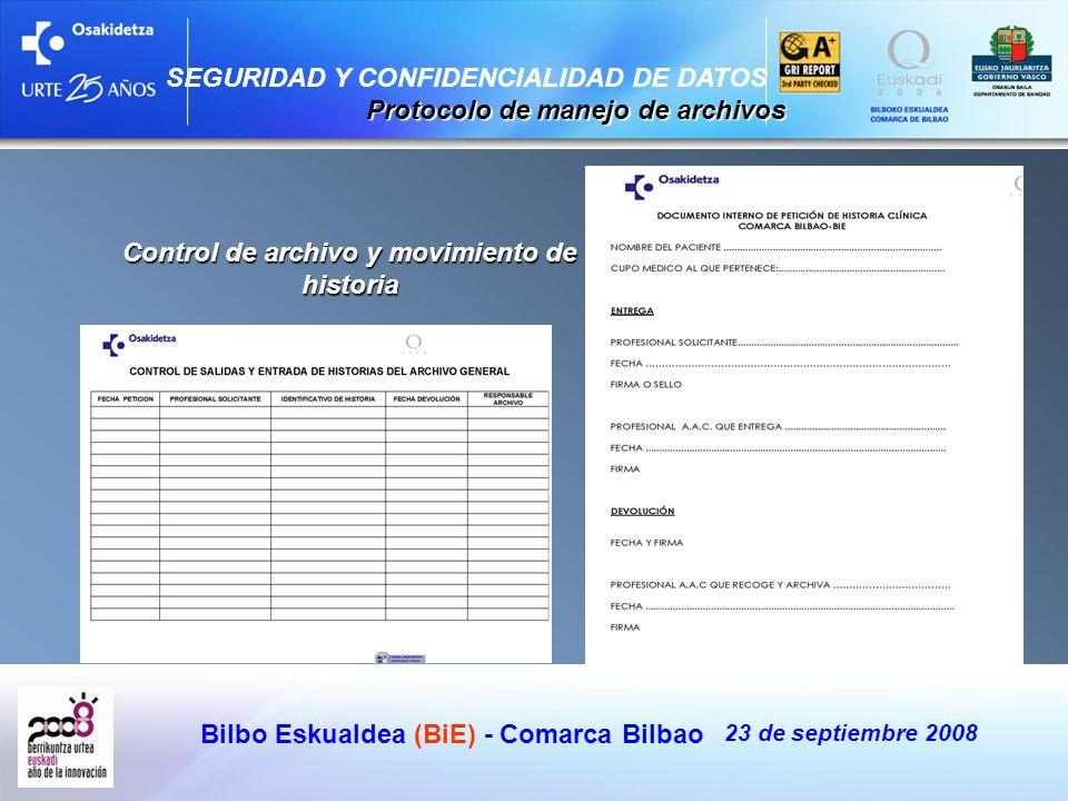 Bilbo Eskualdea (BiE) - Comarca Bilbao 23 de septiembre 2008 SEGURIDAD Y CONFIDENCIALIDAD DE DATOS Protocolo de manejo de archivos Protocolo de manejo
