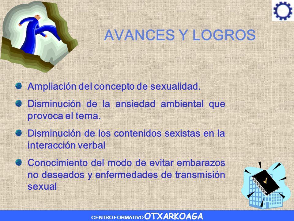 CENTRO FORMATIVO OTXARKOAGA AVANCES Y LOGROS Ampliación del concepto de sexualidad.