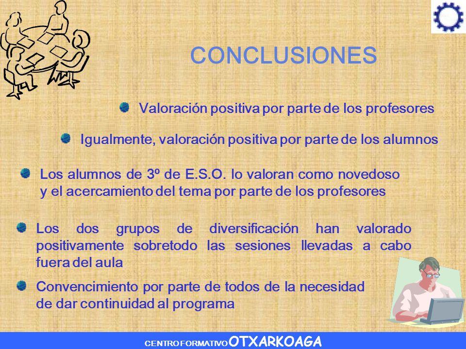 CENTRO FORMATIVO OTXARKOAGA CONCLUSIONES Valoración positiva por parte de los profesores Igualmente, valoración positiva por parte de los alumnos Los alumnos de 3º de E.S.O.