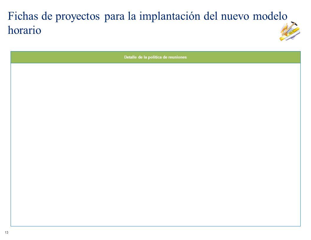 Detalle de la política de reuniones 13 Fichas de proyectos para la implantación del nuevo modelo horario