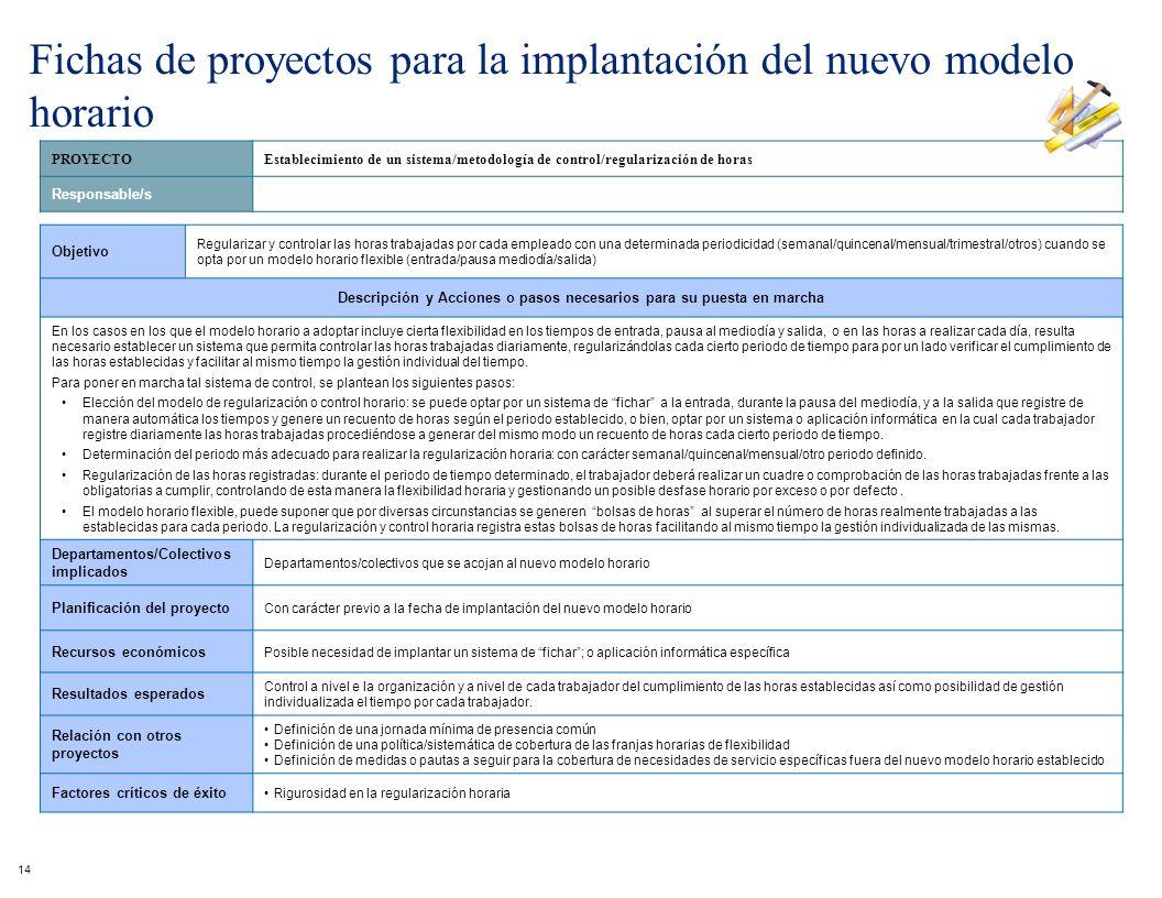 PROYECTOEstablecimiento de un sistema/metodología de control/regularización de horas Responsable/s Objetivo Regularizar y controlar las horas trabajad