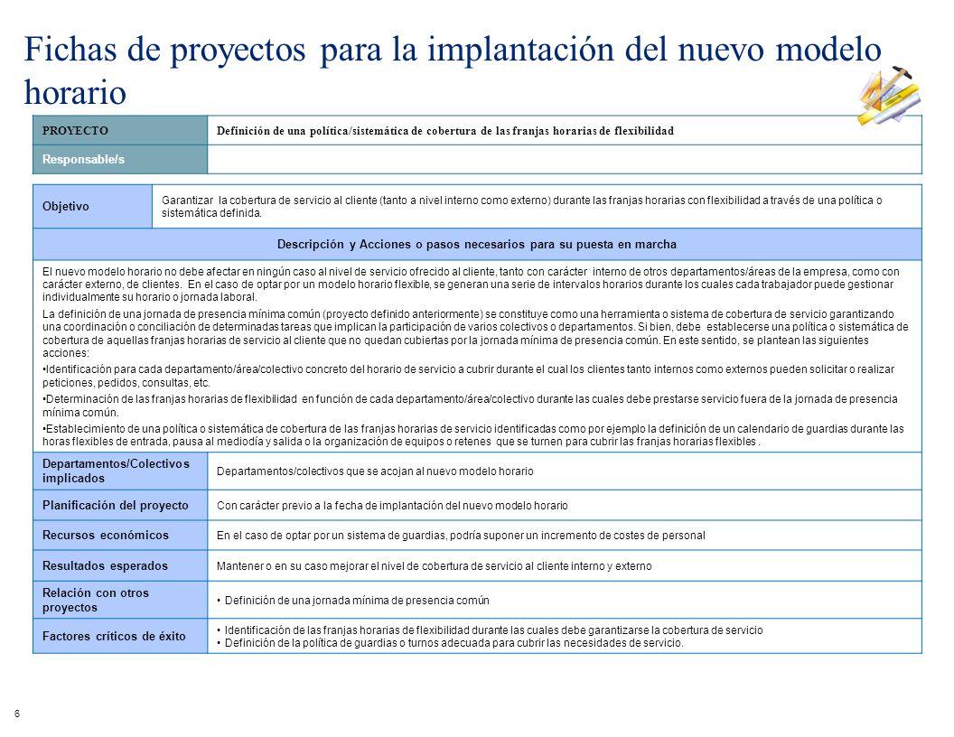 PROYECTODefinición de una política/sistemática de cobertura de las franjas horarias de flexibilidad Responsable/s Objetivo Garantizar la cobertura de