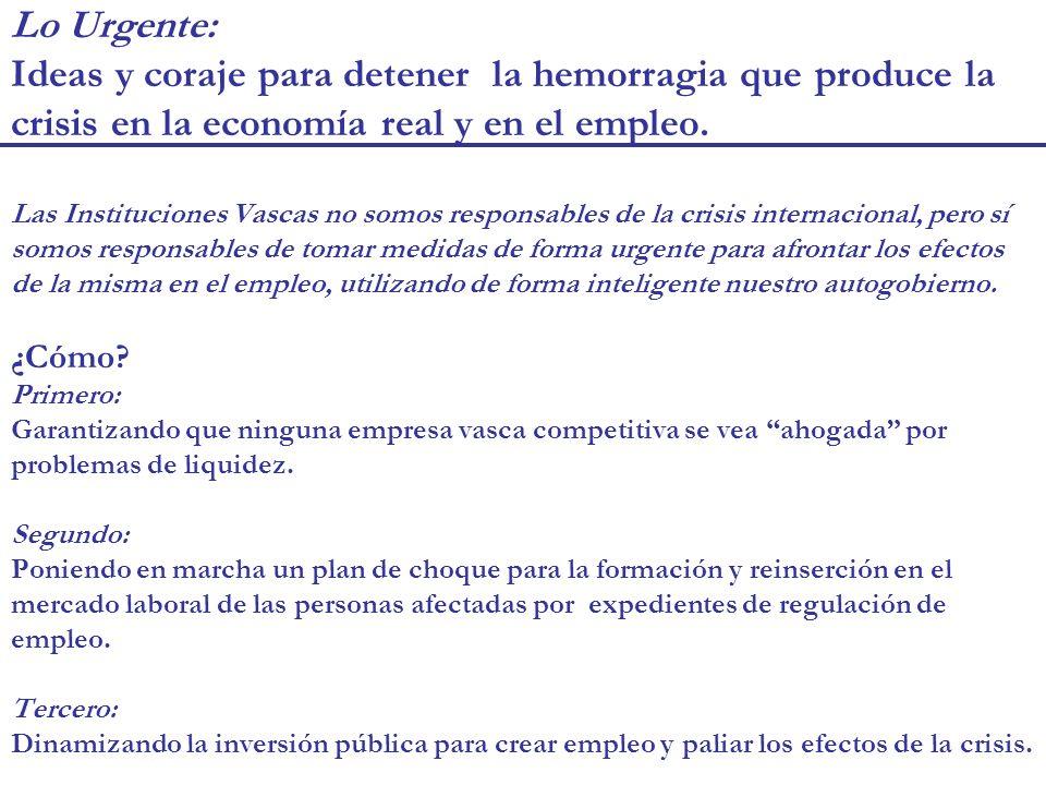 Lo Urgente: Ideas y coraje para detener la hemorragia que produce la crisis en la economía real y en el empleo.