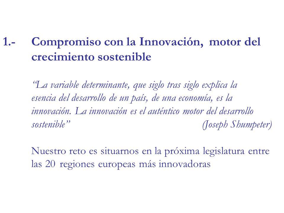 1.-Compromiso con la Innovación, motor del crecimiento sostenible La variable determinante, que siglo tras siglo explica la esencia del desarrollo de un país, de una economía, es la innovación.