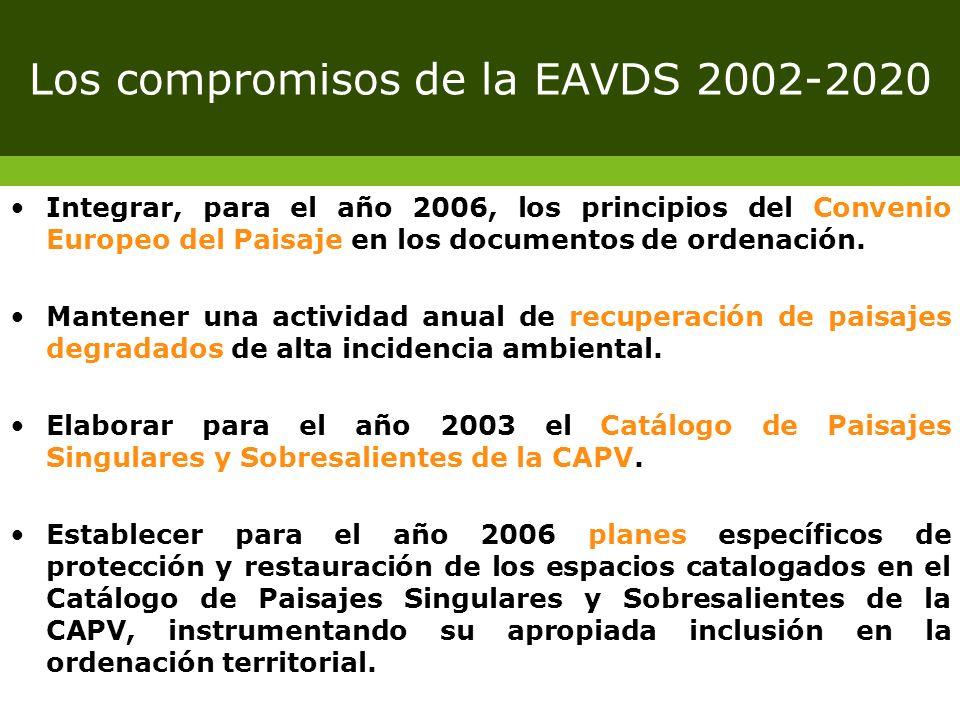 Los compromisos de la EAVDS 2002-2020 Integrar, para el año 2006, los principios del Convenio Europeo del Paisaje en los documentos de ordenación. Man