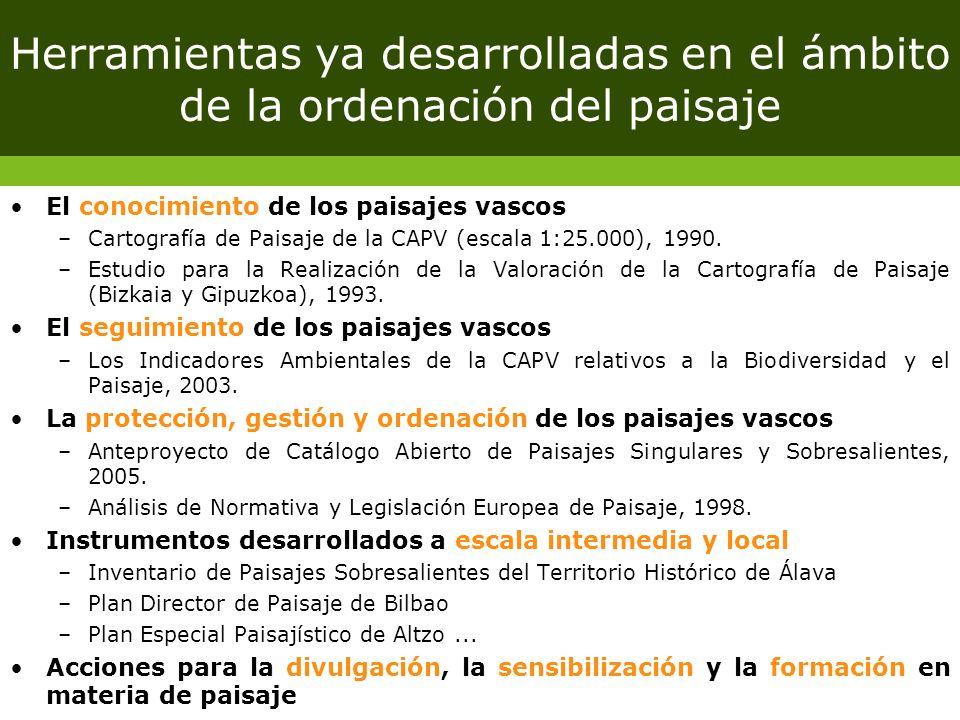 Herramientas ya desarrolladas en el ámbito de la ordenación del paisaje El conocimiento de los paisajes vascos –Cartografía de Paisaje de la CAPV (esc