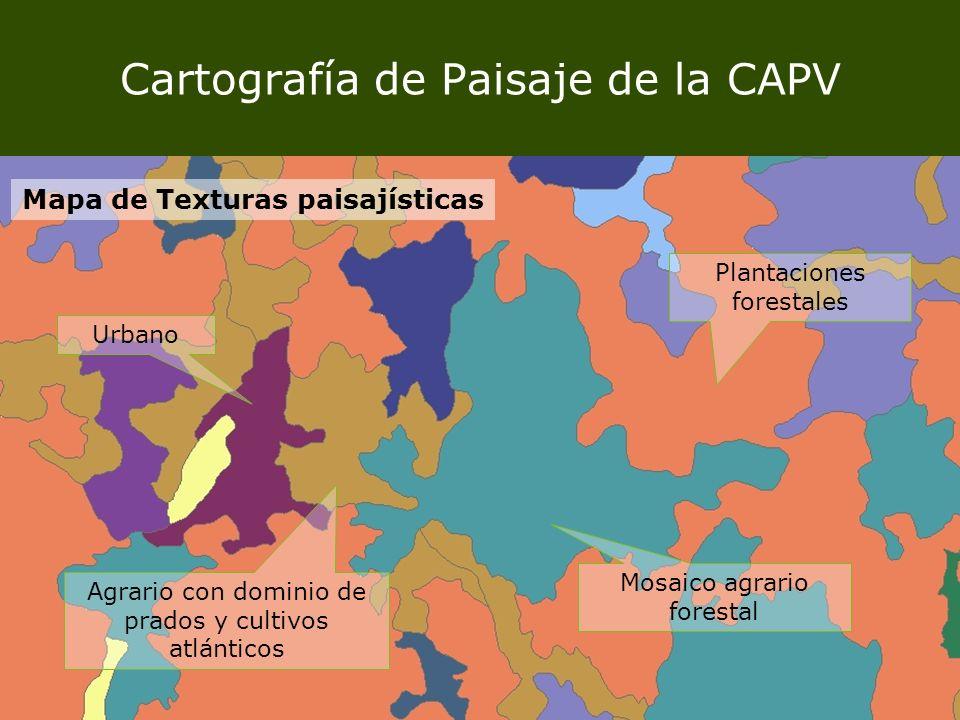 Cartografía de Paisaje de la CAPV Mapa de Texturas paisajísticas Agrario con dominio de prados y cultivos atlánticos Plantaciones forestales Mosaico a