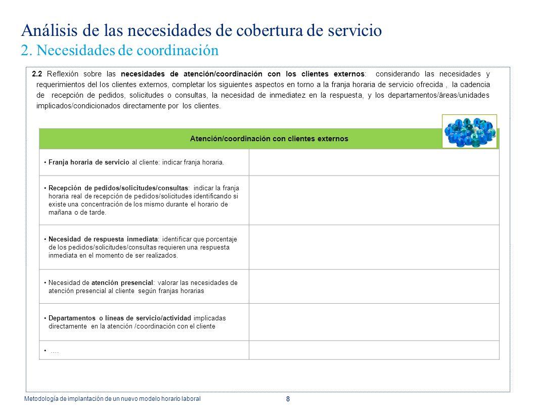 8 Análisis de las necesidades de cobertura de servicio 2. Necesidades de coordinación 2.2 Reflexión sobre las necesidades de atención/coordinación con