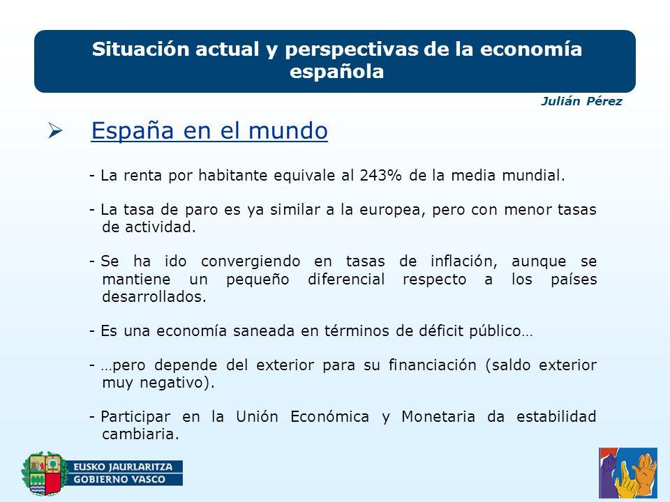 Situación actual y perspectivas de la economía española Julián Pérez España en el mundo - La renta por habitante equivale al 243% de la media mundial.