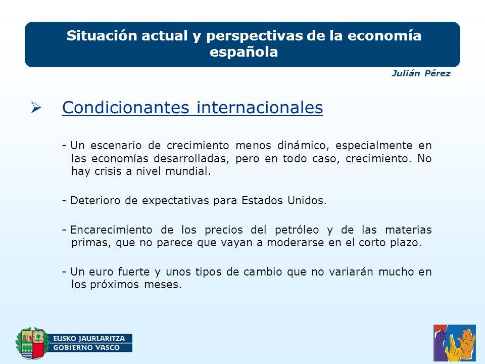 Situación actual y perspectivas de la economía española Condicionantes internacionales - Un escenario de crecimiento menos dinámico, especialmente en las economías desarrolladas, pero en todo caso, crecimiento.