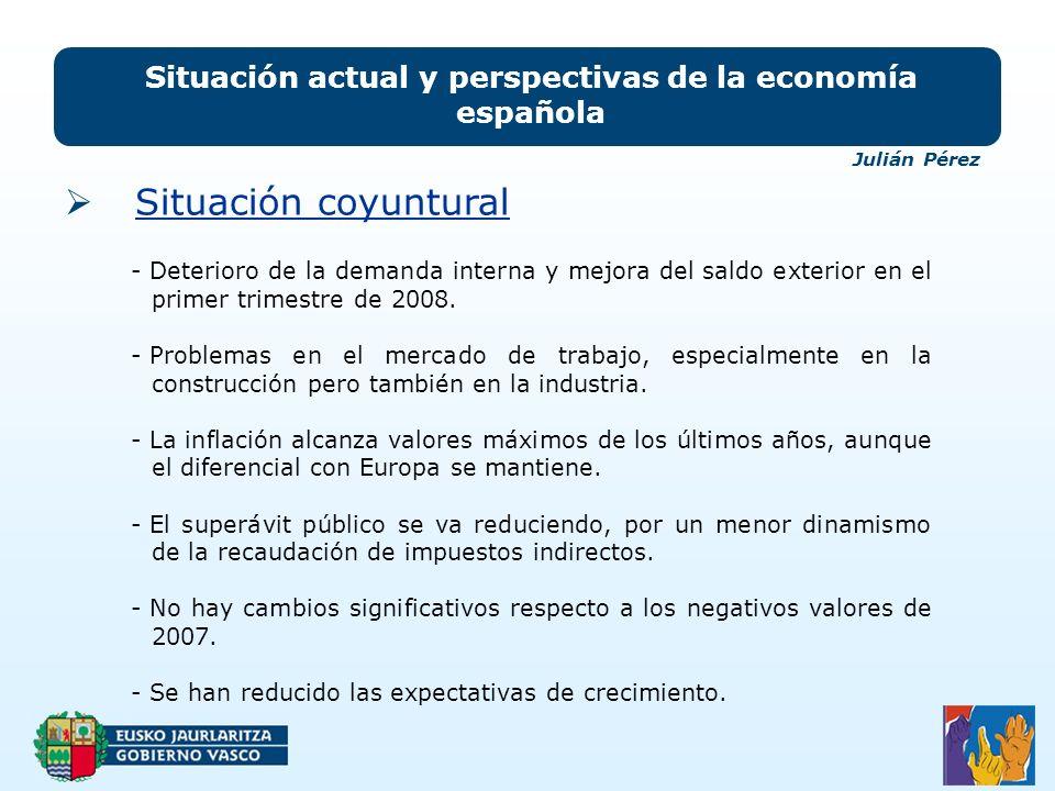 Situación actual y perspectivas de la economía española Situación coyuntural - Deterioro de la demanda interna y mejora del saldo exterior en el primer trimestre de 2008.