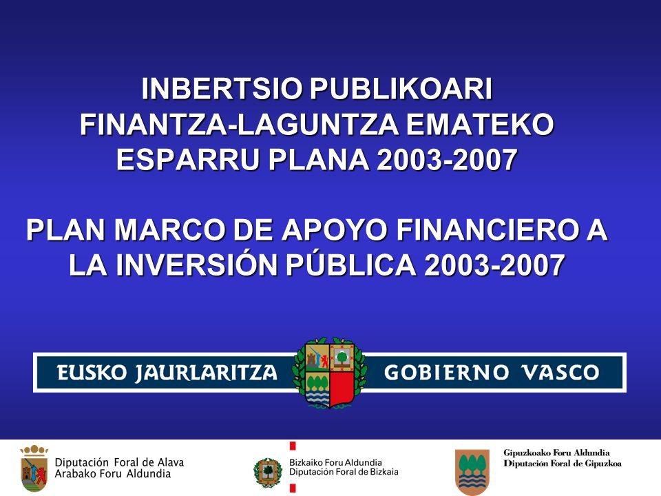 Plan Marco de Apoyo Financiero a la Inversión Pública 2003-2007 INBERTSIO PUBLIKOARI FINANTZA-LAGUNTZA EMATEKO ESPARRU PLANA 2003-2007 PLAN MARCO DE APOYO FINANCIERO A LA INVERSIÓN PÚBLICA 2003-2007