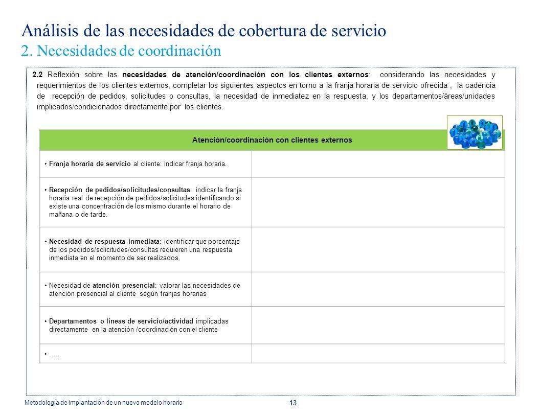 13 Análisis de las necesidades de cobertura de servicio 2. Necesidades de coordinación 2.2 Reflexión sobre las necesidades de atención/coordinación co