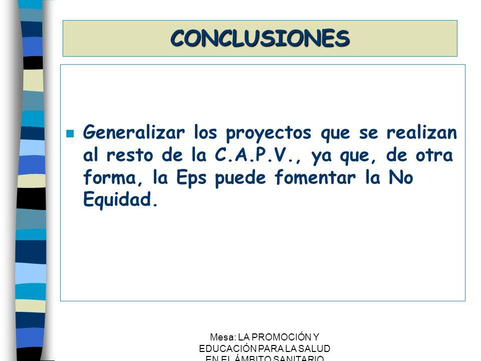 Mesa: LA PROMOCIÓN Y EDUCACIÓN PARA LA SALUD EN EL ÁMBITO SANITARIO CONCLUSIONES n Generalizar los proyectos que se realizan al resto de la C.A.P.V.,