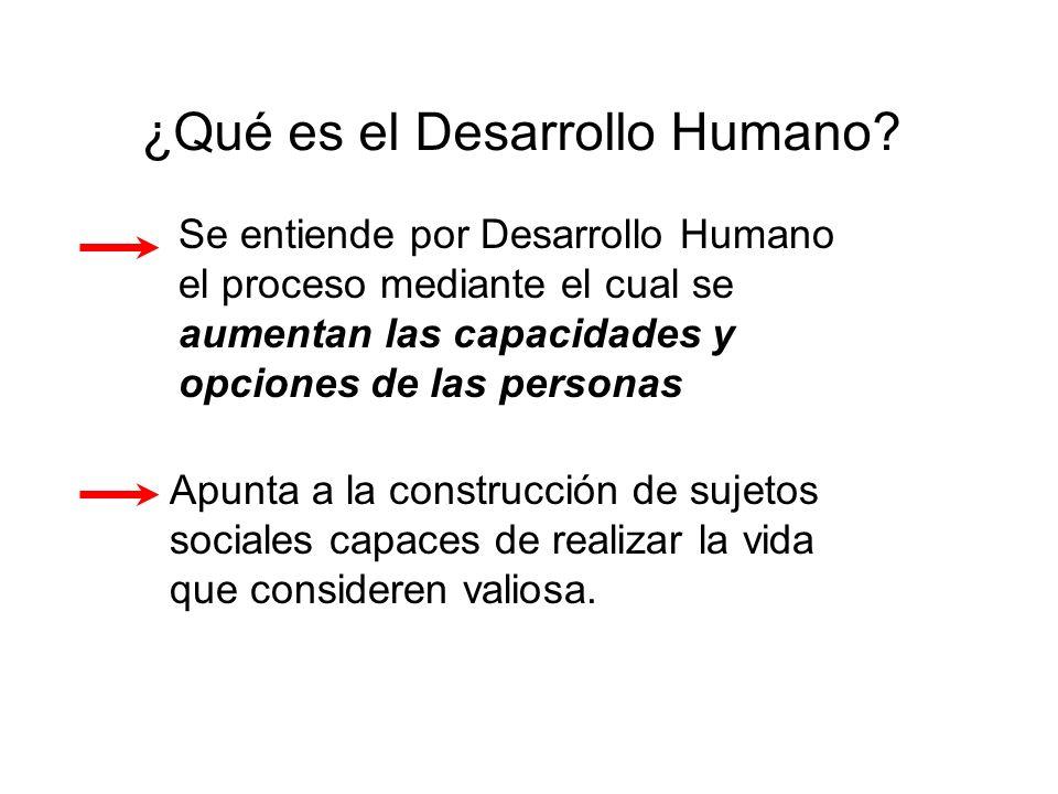Se entiende por Desarrollo Humano el proceso mediante el cual se aumentan las capacidades y opciones de las personas Apunta a la construcción de sujet