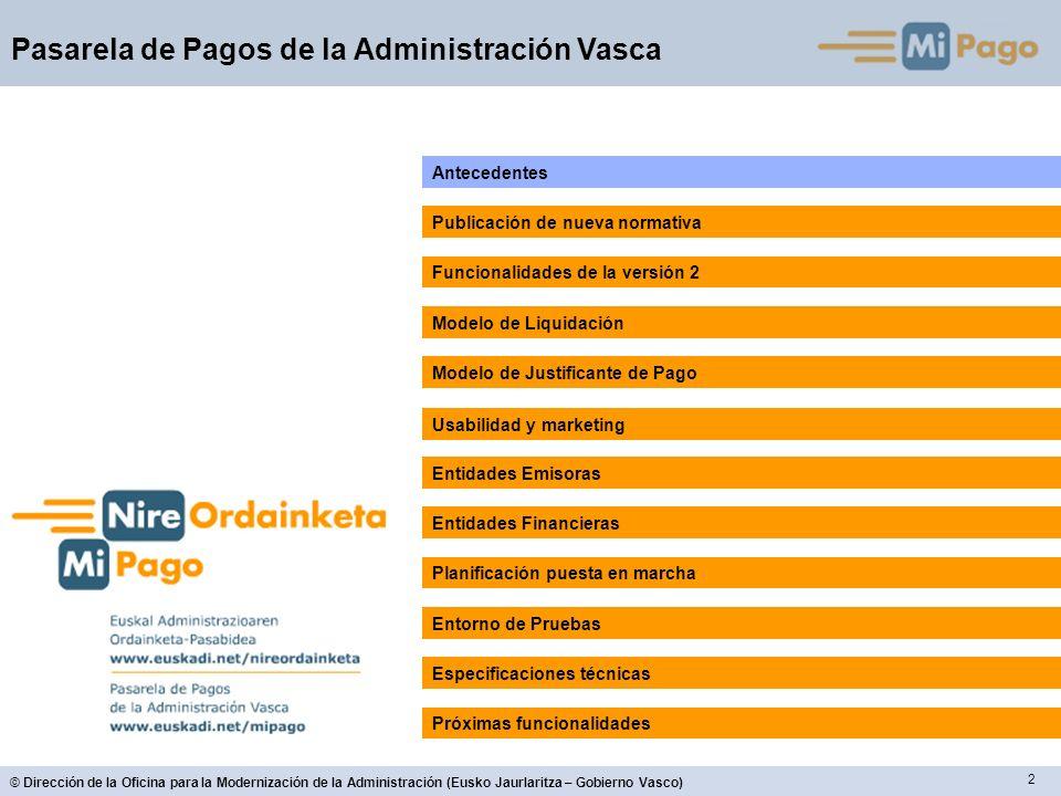 63 © Dirección de la Oficina para la Modernización de la Administración (Eusko Jaurlaritza – Gobierno Vasco) Pasarela de Pagos de la Administración Vasca Especificaciones Técnicas Modelo de Desarrollo: Similar a V1: Basado en un API que encapsula las funcionalidades de la pasarela.