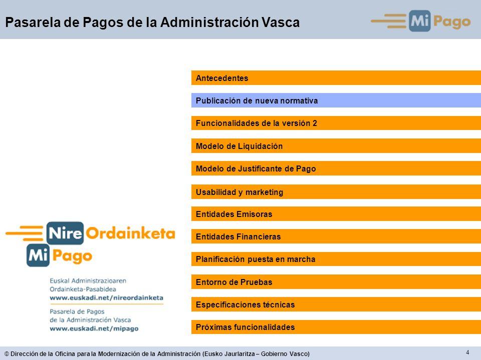 55 © Dirección de la Oficina para la Modernización de la Administración (Eusko Jaurlaritza – Gobierno Vasco) Pasarela de Pagos de la Administración Vasca Entidades Financieras
