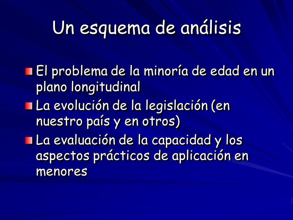 Un esquema de análisis El problema de la minoría de edad en un plano longitudinal La evolución de la legislación (en nuestro país y en otros) La evalu