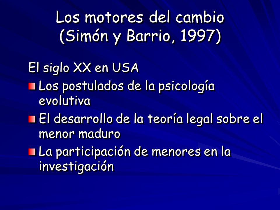 Los motores del cambio (Simón y Barrio, 1997) El siglo XX en USA Los postulados de la psicología evolutiva El desarrollo de la teoría legal sobre el m