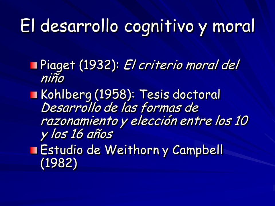 El desarrollo cognitivo y moral Piaget (1932): El criterio moral del niño Kohlberg (1958): Tesis doctoral Desarrollo de las formas de razonamiento y e