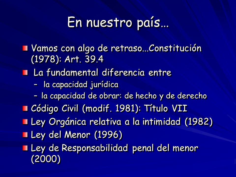 En nuestro país… Vamos con algo de retraso...Constitución (1978): Art. 39.4 La fundamental diferencia entre La fundamental diferencia entre – la capac