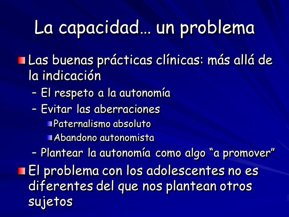 La capacidad… un problema Las buenas prácticas clínicas: más allá de la indicación –El respeto a la autonomía –Evitar las aberraciones Paternalismo ab