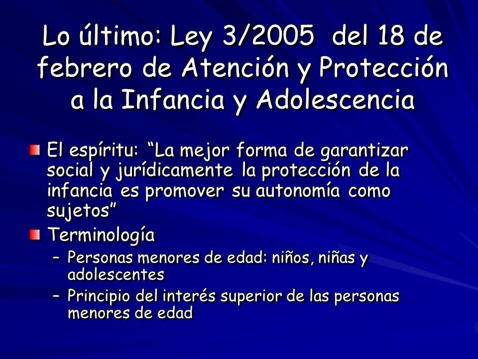 Lo último: Ley 3/2005 del 18 de febrero de Atención y Protección a la Infancia y Adolescencia El espíritu: La mejor forma de garantizar social y juríd