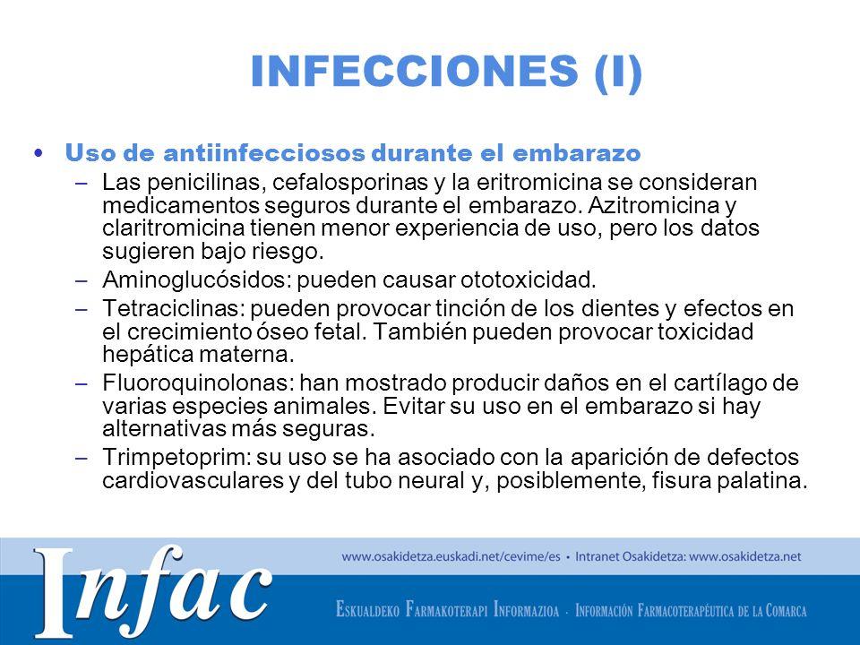 http://www.osakidetza.euskadi.net INFECCIONES (I) Uso de antiinfecciosos durante el embarazo –Las penicilinas, cefalosporinas y la eritromicina se con