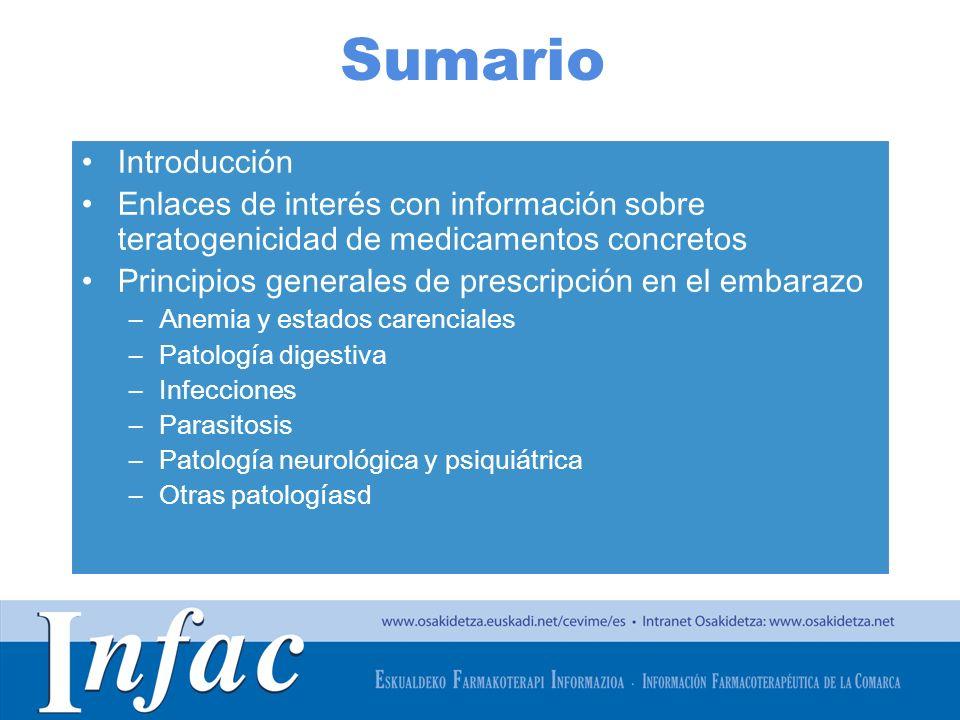 http://www.osakidetza.euskadi.net Introducción Aproximadamente el 5% de las embarazadas tienen que continuar tomando algún medicamento durante el embarazo por padecer alguna patología crónica (enfermedad psiquiátrica, diabetes, asma).