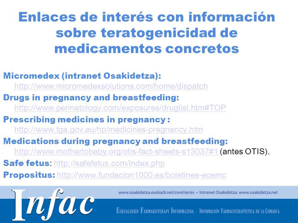 http://www.osakidetza.euskadi.net Enlaces de interés con información sobre teratogenicidad de medicamentos concretos Micromedex (intranet Osakidetza):