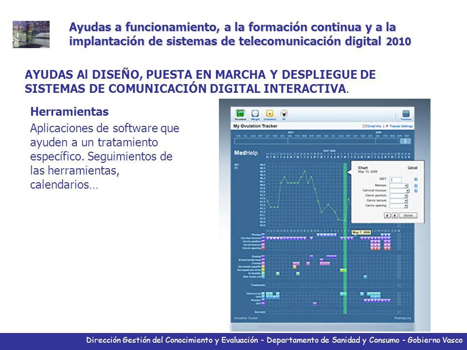 Dirección Gestión del Conocimiento y Evaluación - Departamento de Sanidad y Consumo - Gobierno Vasco Herramientas Aplicaciones de software que ayuden